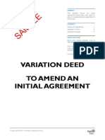 Variation Deed (To Amend an Initial Agreement) – Template Sample