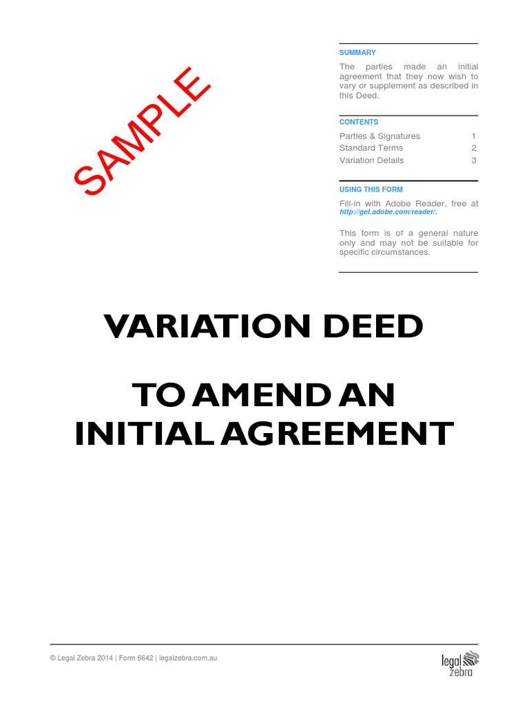 Variation Deed To Amend an Initial Agreement Template Sample – Sample Contract for Deed