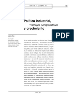Política Industrial, Ventajas Comparativas y Crecimiento