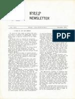WASP Newsletter ~ 12/01/72