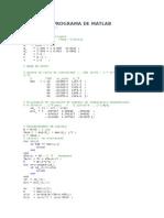 Programa de Matlab