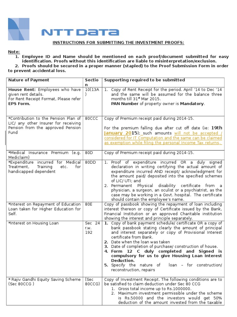 Instruction For Submitting Proofs Insurance Tax Deduction