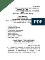 Civil Procedure Code and Limitation Act Dec 2009