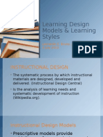 Learning Design Models & Learning Styles