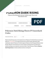 Pokemon Dark Rising Cheats