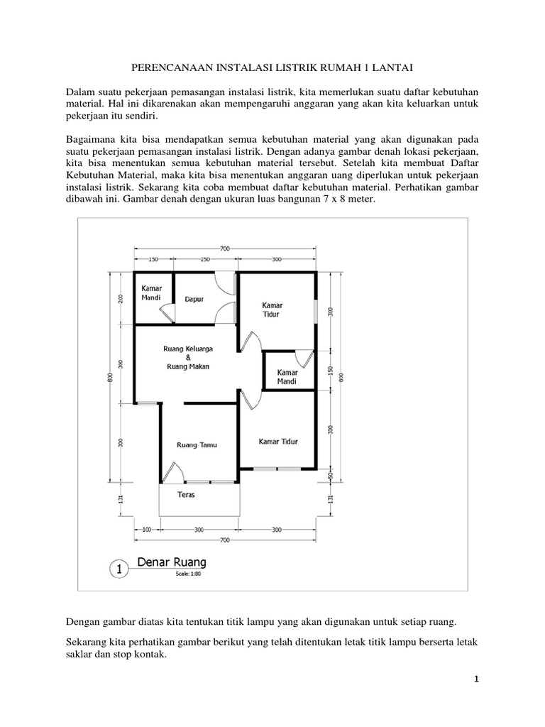 Perencanaan Instalasi Listrik Rumah 1 Lantai
