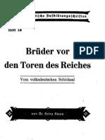 Nationalpolitische Aufklärungsschriften Heft 18 - Brüder Vor Den Toren Des Reiches (1942, 32 S., Scan)