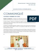 Communiqué de presse - Ali Bongo Ondimba au Tchad