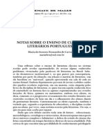 Notas Sobre o Ensino de Clássicos Literários Portugueses