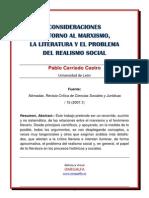 Consideraciones en Torno Al Marxismo La Literatura y El Realismo Social