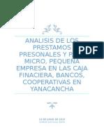 Analisis de Los Prestamos Presonales y Para Micro