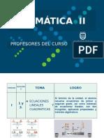 UA1 Ecuaciones Lineales y Cuadraticas Nuevo Mate II 2014-I