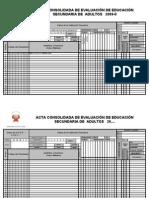 Acta Consolidada de EvaluaciÓn de EducaciÓn Secundaria
