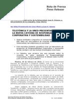 TELEFÓNICA Y LA UNED PRESENTAN  LA NUEVA CÁTEDRA DE RESPONSABILIDAD CORPORATIVA Y SOSTENIBILIDAD