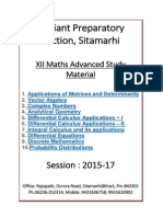 XII Maths Chapterwise Advanced Study Material 2015 17