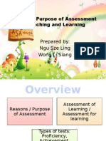 Role and Purpose of Assessment in Teaching And