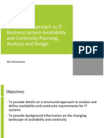 Structured Approach to IT Business System Availability and Continuity Planning, Analysis and Design