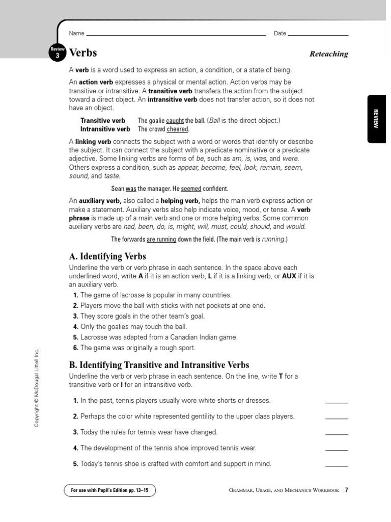 Grade 12 Verbs Questions | Verb | Subject (Grammar)