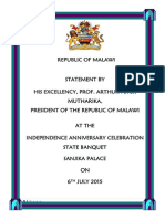 Statement by President Arthur Peter Mutharika at the 2015 Independence Anniversary Celebrations State Banquet, Sanjika Palace - July 6 2015