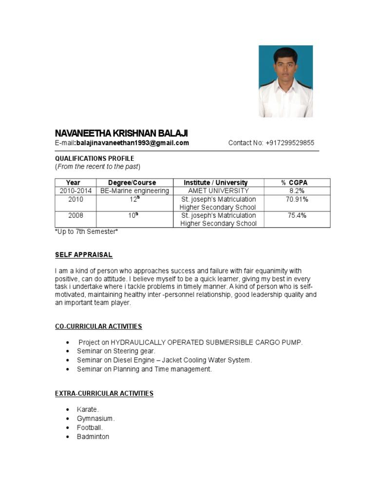sample engine cadet resume