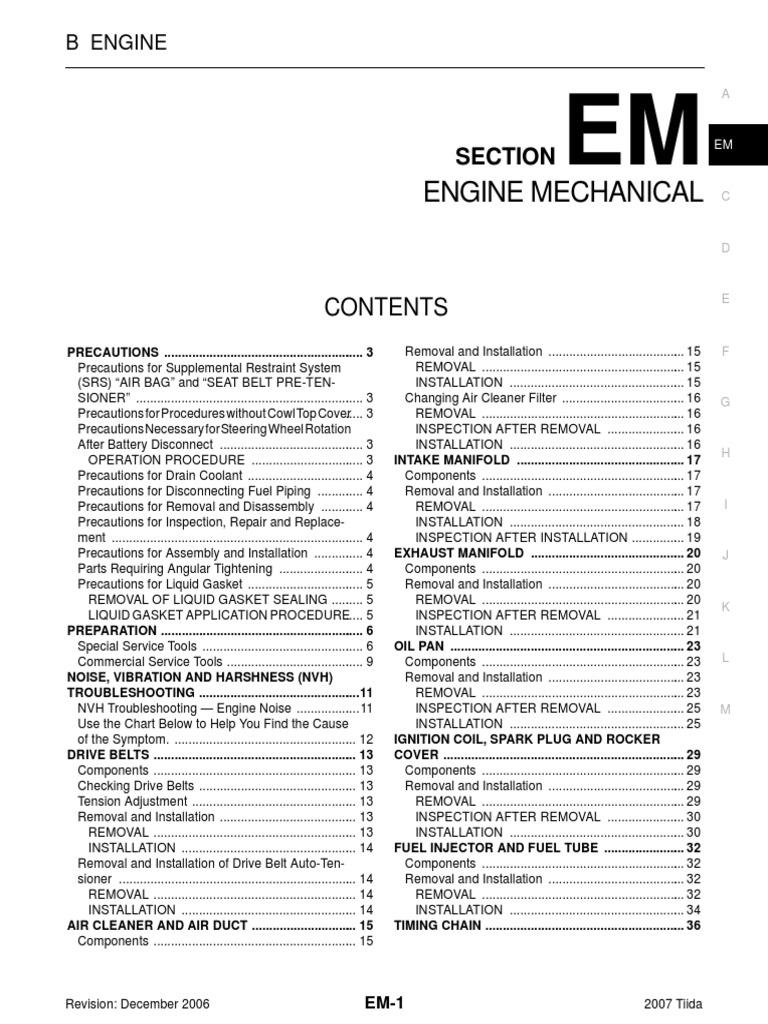 Engine Manual Nissan MR18 | Piston | Belt (Mechanical)