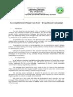 Accomplishment Report - Drug Campaign