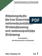 Oberkommando Der Wehrmacht - Schulungshefte - Erster Jahrgang 1939 - Heft 1