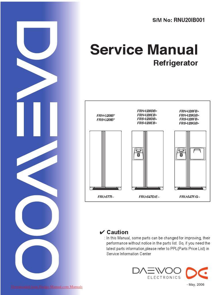 Service Manual Daewoo FRS U20   Refrigerator   Switch