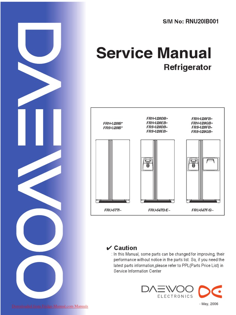 service manual daewoo frs u20 refrigerator switch rh scribd com Kenmore Elite Dishwasher Manual Repair Manuals