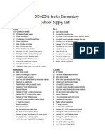 School Supply List 2015-2016