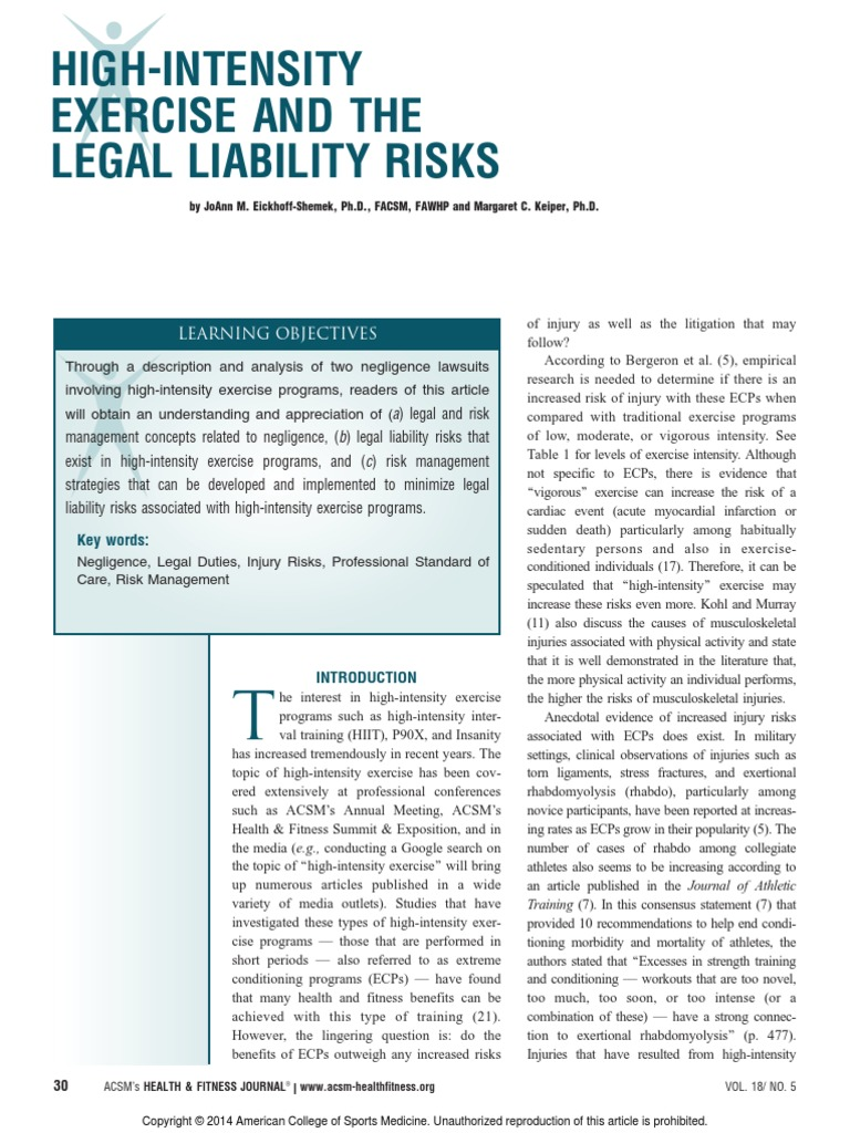 Exercise and liability negligence liability insurance 1betcityfo Gallery
