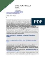 Cancelamento de Matrícula Armazém-geral
