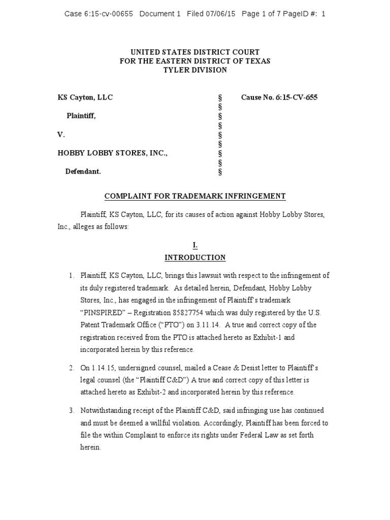 KS Cayton v. Hobby Lobby - PINSPIRED Trademark Complaint   Trademark ...
