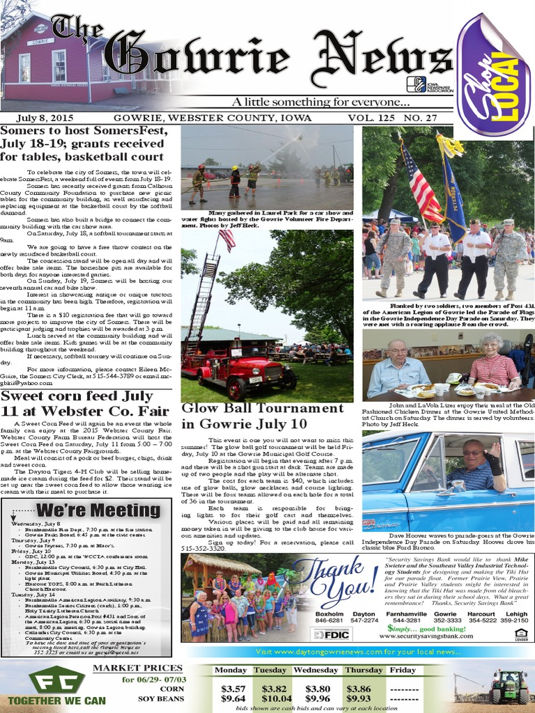 July 8 Pages - Gowrie News | Credit Card | Cheque