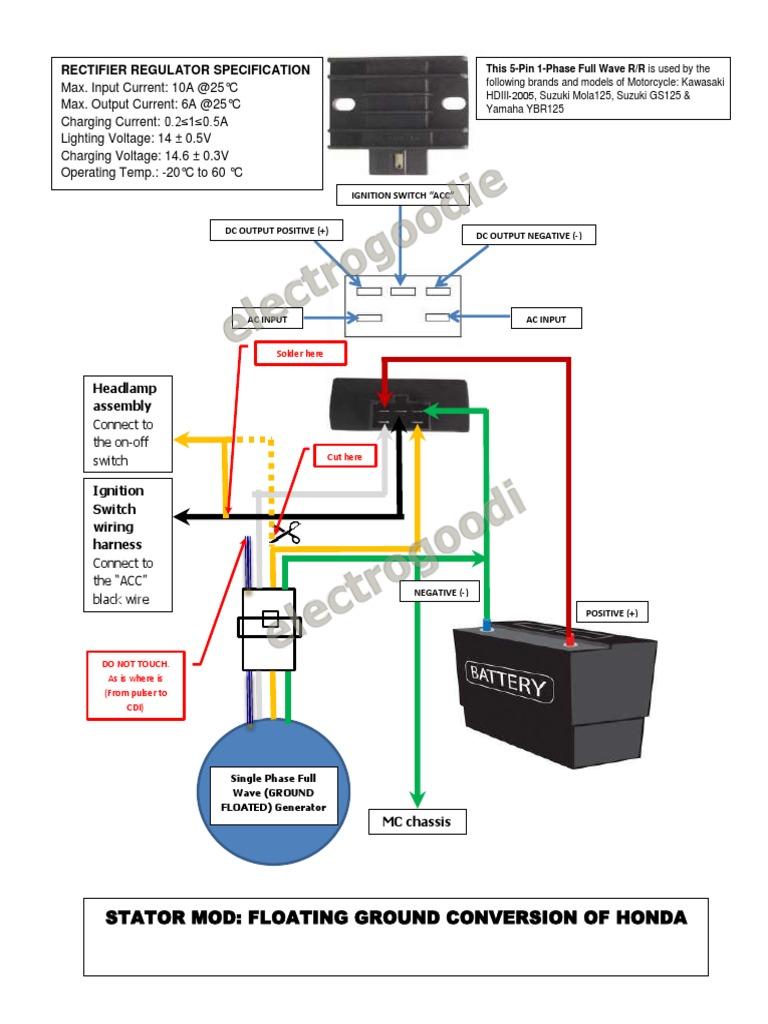 stator mod floating ground honda wave100 xrm110 solder rectifier rh scribd com Honda Civic Diagram Honda Civic Diagram