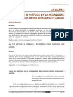 Sobre Metodo de Pedagogia, Reflexiones Des Durkein