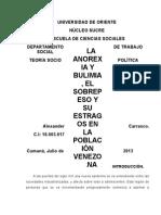 LA ANOREXIA Y BULIMIA, EL SOBREPESO Y SU ESTRAGOS EN LA POBLACIÓN VENEZOLANA