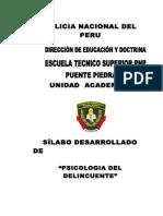 SILABO DE PSICOLOGÍA DEL  DELINCUENTE 2014