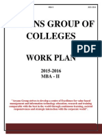 Work Plan MBA-II, Top MBA College in Chandigarh