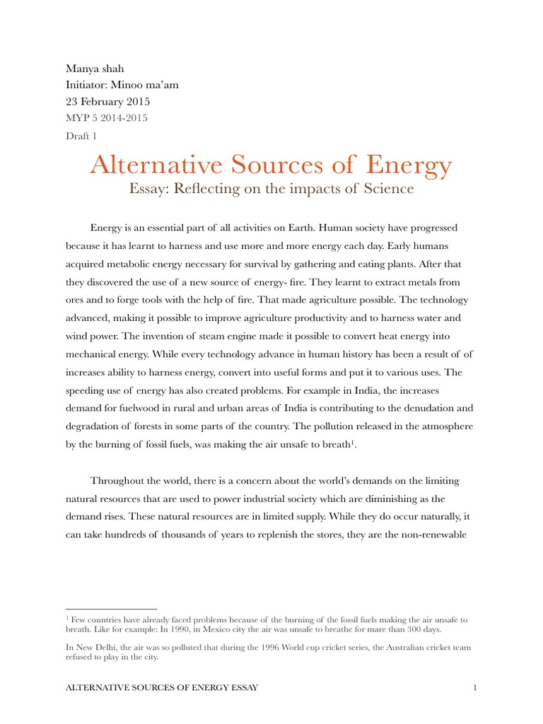 essay what is an alternative sources for fossil fuels