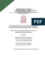 Los Procesos Especiales y La Aplicaci%c3%93n Del Principio de Oralidad en El Nuevo c%c3%93digo Procesal Civil y Me