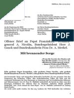 Köpke, Matthias - Offener Brief - Mit brennender Sorge - An Papst, Jesuitengeneral, Bundeskanzlerin, Bundespraesidenten