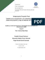 Gestión de un proyecto BI, con metodología Kimball (fases del proyecto) y bajo el estándar del PMBOK