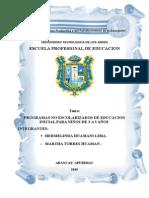 PROGRAMAS NO ESCOLARIZADOS EN PERU