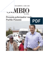 06-07-2015 Diario Matutino Cambio de Puebla - Presenta Gobernador Vuelo Puebla-Panamá