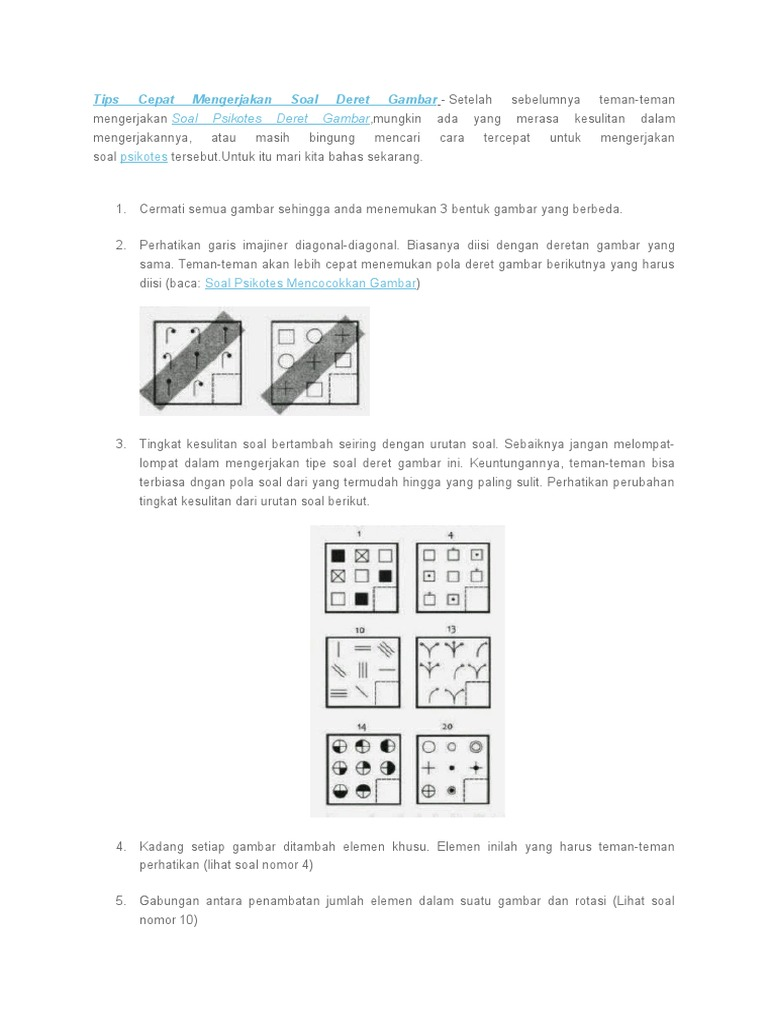Tips Cepat Mengerjakan Soal Deret Gambar