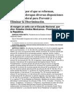 20-03-14 Decreto por el que se reforman, adicionan y derogan diversas disposiciones de la Ley Federal para Prevenir y Eliminar la Discriminación.
