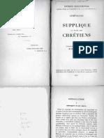Athénagore, Gustave Bardy (Éd.)-Supplique Au Sujet Des Chrétiens (Sources Chrétiennes 003)