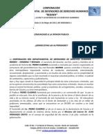 Comunicado Pedro Cuadros