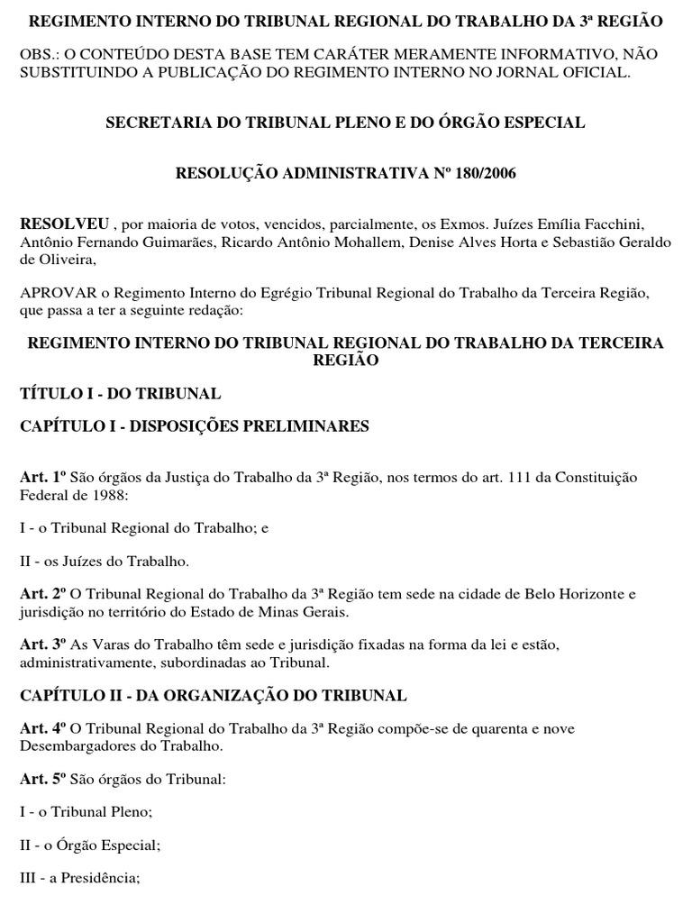Regimento Interno Trt 3 Pdf